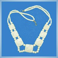 Ivory Colored Celluloid Vintage Necklace - Squares & Rhinestones