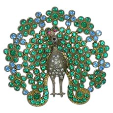Green & Blue Rhinestone Peacock Pin Vintage