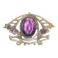 Victorian Brass Pin Purple Stone