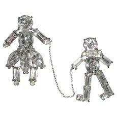 Vintage Rhinestone Girl & Boy Chatelaine Pins