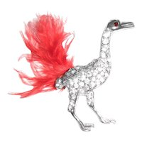 Adorable Rhinestone Ostrich Pin with Ostrich Feather
