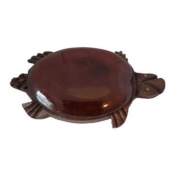 Bakelite & Wood Turtle Figural Pin