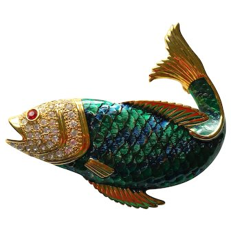 Blue & Green Scaled Fish Pin