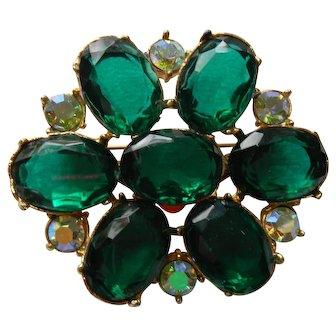 Emerald Green Rhinestone Pin