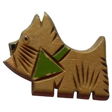 Hand Carved Painted Wood Scottish Terrier Pin