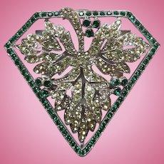Green & Clear Rhinestone Dress Clip