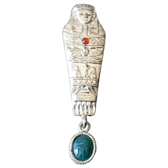 Mummy Pin with Hanging Scarab