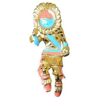 Zuni Dancing Warrior Pin