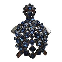 Blue Rhinestone Turtle Pin