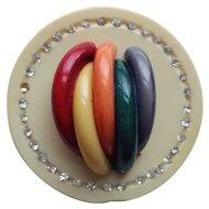 Vintage Rainbow Celluloid Fur Clip