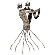 Extra Large Rhinestone Dancing Couple Pin