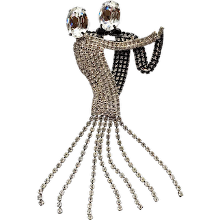 Extra Large Rhinestone Dancing Couple Pin