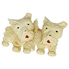 1940s Celluloid Scottie Dogs Brooch with Moveable Heads