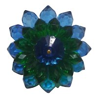 Blue & Green Lucite Burst Pin