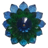 Blue & Green Lucite Burst Pin