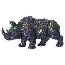 Sparkling Aurora Borealis Rhino Rhinoceros Pin