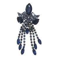 "Huge 5"" Blue Rhinestone Dangling Pin"