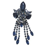 "Huge 5"" Blue Rhinestone Dangling Pin"