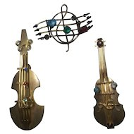 2 Vintage Brass Musical Instruments Pin & 1 Musical Staff Pin