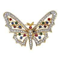 Multi Colored Rhinestone Butterfly Figural Pin
