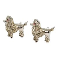 Adorable Pair of Poodles Dog Rhinestone Pins