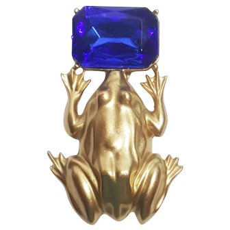Frog Holding Blue Water Pond Pin