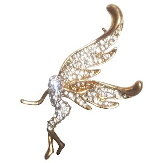 Flying Rhinestone Fairy Pin