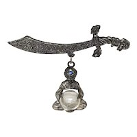 Thief of Bagdad Genie Glass Globe Dangle Pin