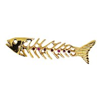 Cute Bone Fish Pin