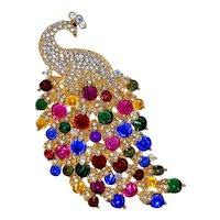 Huge Rivoli Rhinestone Peacock Pin