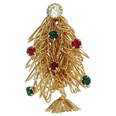 Free Form Wire Art Christmas Tree Pin