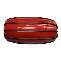 Red Bakelite Chunky Brooch Wrapped in Black Rubber