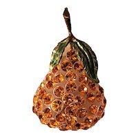 Forbidden Fruit Pear Brooch Vintage Lucite & Rhinestones