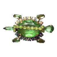 Green Rhinestone Turtle Pin