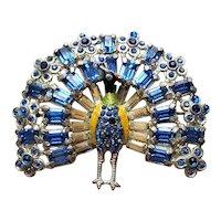 Green & Blue Rhinestone Peacock Pin Vintage