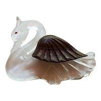 Lucite & Wood Swan Brooch