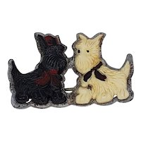 Black White Scottie Dogs Vintage Pin - 1940s