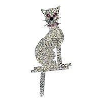 Sparkling Rhinestone Kitty Cat With Dangling Tail Pin - Pink Eyes and Collar