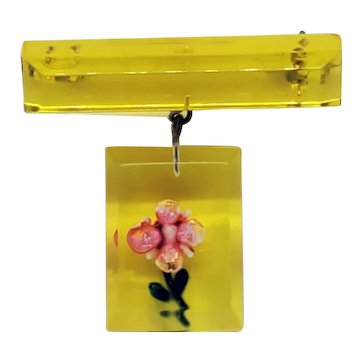 Yellow Lucite Reverse Carved Dangle Pin