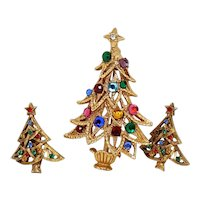 Christmas Tree Pin and Christmas Tree Earrings
