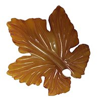 Huge Carved Bakelite Maple Leaf Dress Clip