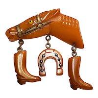 Bakelite Horse Head Dangle Pin