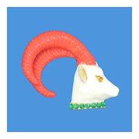 Jeweled & Enameled Ram's Head Pin
