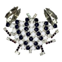 Black & White Crab Figural Pin