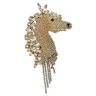 Rhinestone Horse Head Pin