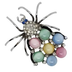 Moonglow Stone Spider Figural Pin