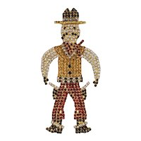 Rhinestone Cowboy Figural Pin - Huge