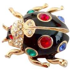 Multi-Colored Rhinestone Black Bug Pin