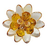 Champagne Colored Lucite Flower Brooch