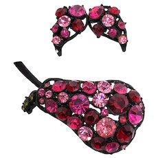 Japanned Metal Red Pink Raspberry Pear Pin & Earrings
